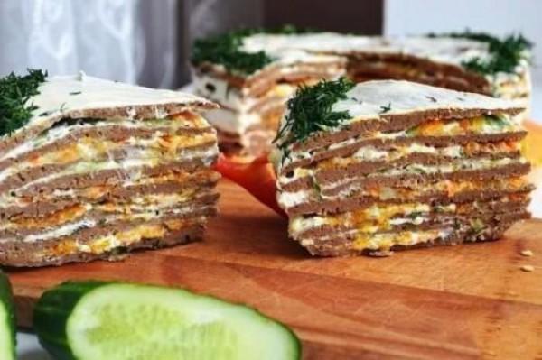 Печеночный торт из говяжьей печени к празднику: рецепт пошагово